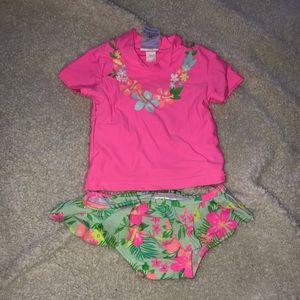 2/$15 CARTER'S 2 piece swim suit floral hibiscus